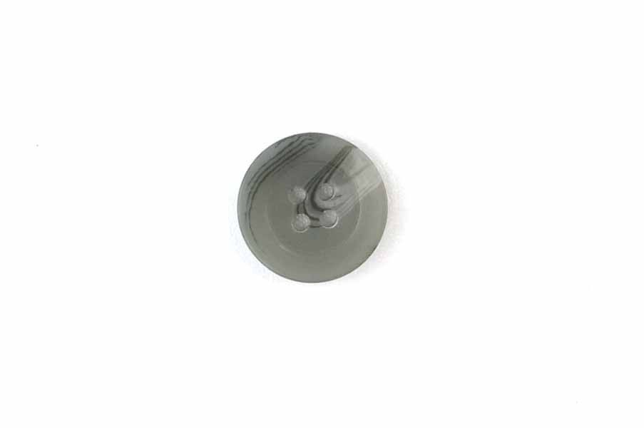 Tahari button, gray toned with dark gray striations, four hole, 3/4in