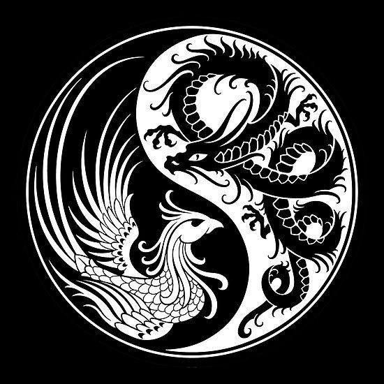'Weißer und schwarzer Drache Phoenix Yin Yang' Poster von Jeff Bartels - Dieses einzigartige Yin-Yang-Design des Künstlers Jeff Bartels zeigt auf der einen Seite einen trad - #39Weißer #bartels #chinesedragontattoo #Drache #jeff #Phoenix #Poster #schwarzer #targaryentattoo #und #von #Yang39 #Yin