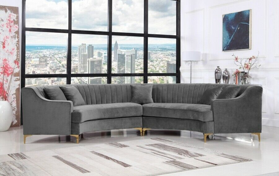 Channel Tufting Design Grey Color Contemporary Curved 2piece Sectional Sofa Set  Grey Sofas  Ideas of Grey Sofas  Channel Tufting Design Grey Color Contemporary Curved 2p...