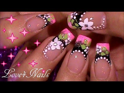 Decoracion De Uñas Lindas Diseño Frances Tutorial Youtube Uñas