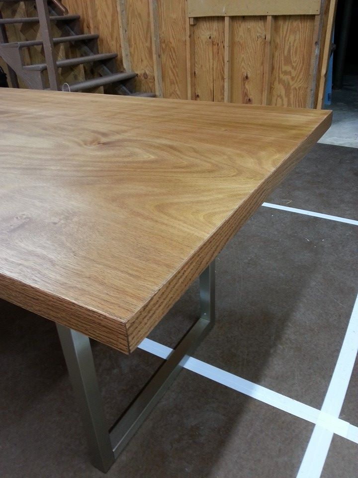 Diy Desk 1 0 Detail 2 Solid Core Slab Door With Iron On Veneer Edging And Craigslist Table Legs Stained With A Mix Of Mi Slab Door Diy Desk Diy Inspiration