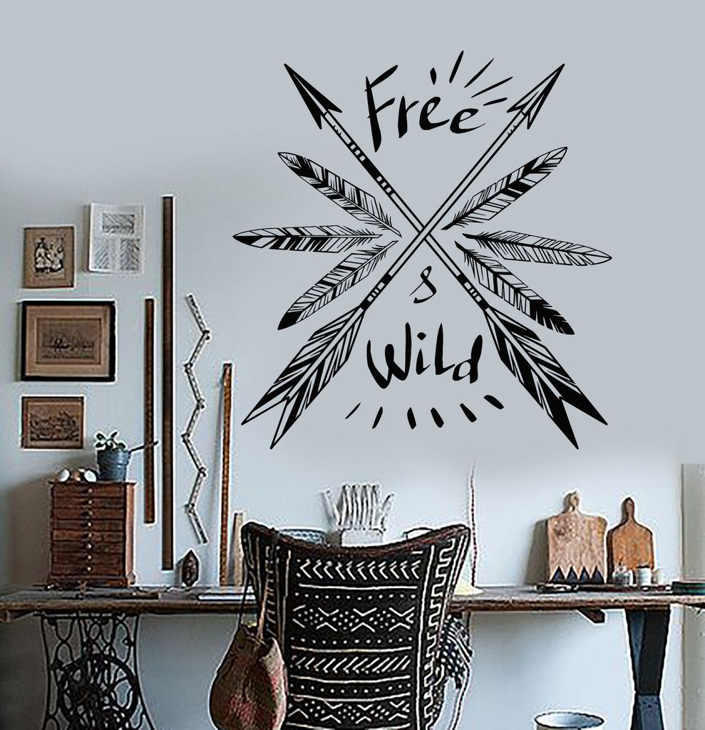 Vinyl wall decal feathers arrow ethnic decor quote art room stickers