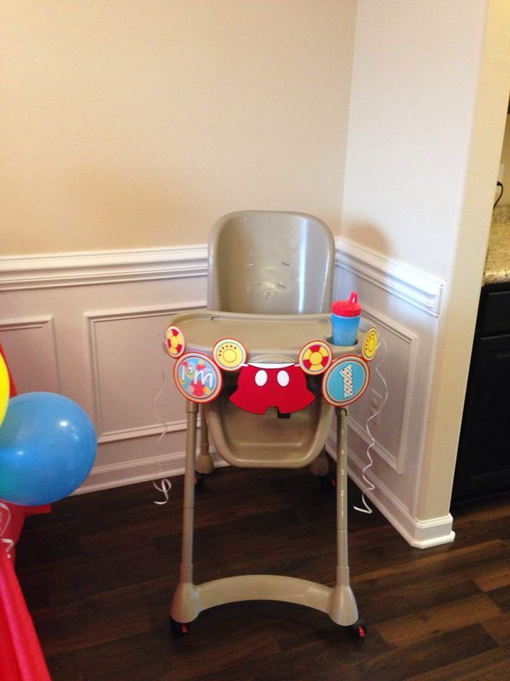 mickey mouse birthday decoration high chair decoration   parker u0027s      rh   pinterest se