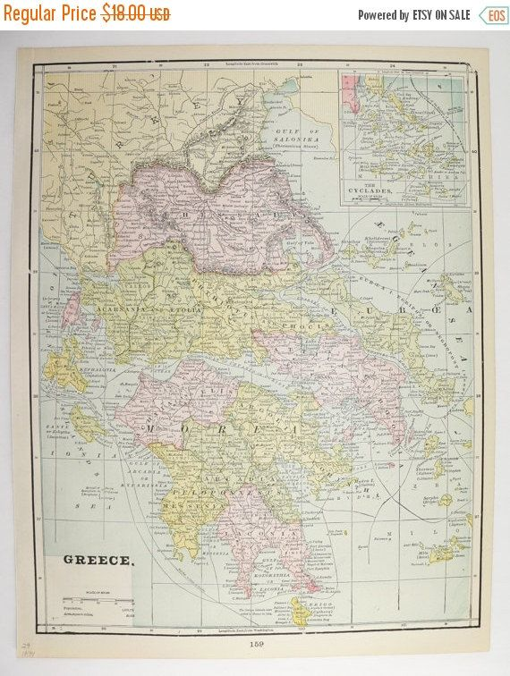 1894 antique map greece cyclades map turkey balkans map vintage 1894 antique map greece cyclades map turkey balkans map vintage map greek islands old world map greece gift vintage decor gift for him available from gumiabroncs Gallery