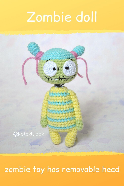 Crochet Zombie Doll Creepy Little Doll Zombie Kawaii Zombie