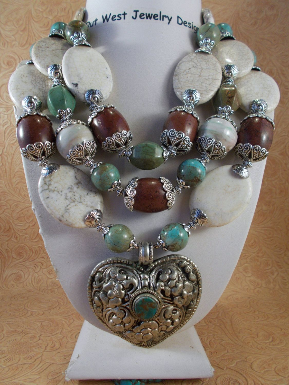 Cowgirl necklace set chunky western white buffalo turquoise