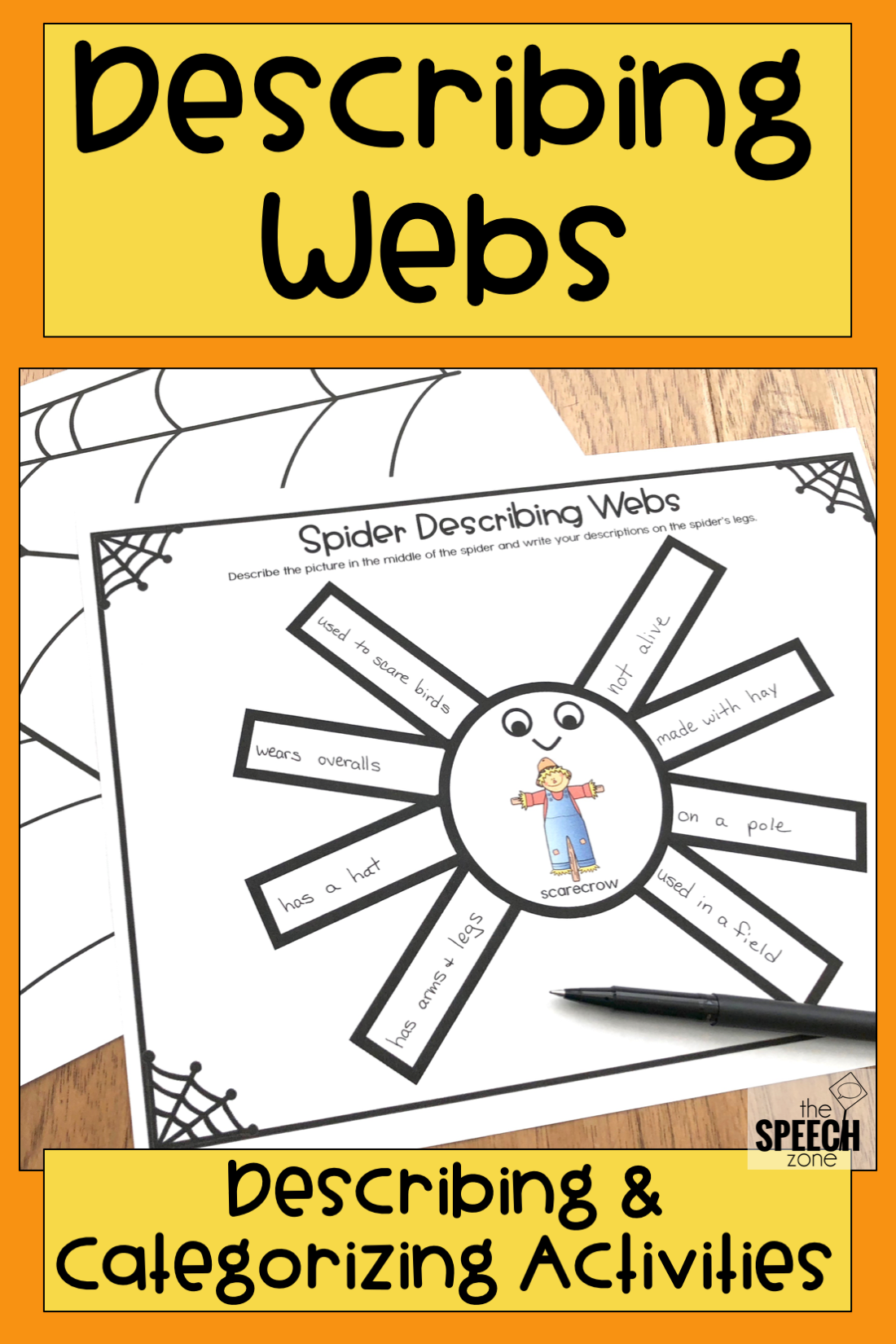 Describing Vocabulary Graphic Organizer Worksheets Slp