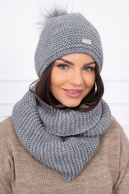 676a66382 Dámska pletená čiapka a šál grafitová | Dámske čiapky a šály | Pre ...