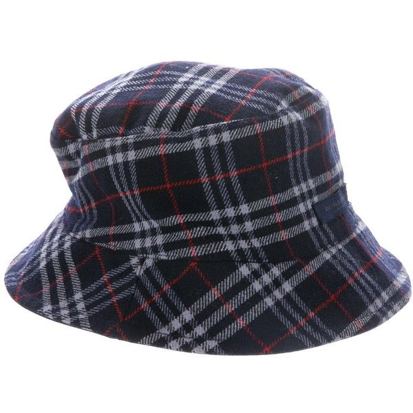 68daaae2b46 Pre-owned Burberry Nova Check Bucket Hat ( 125) ❤ liked on Polyvore  featuring accessories