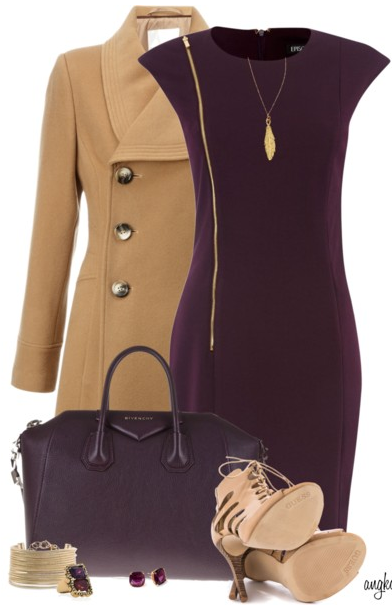 Aubergine Office Attire-I would replace the heels with a dark brown suede tall boot