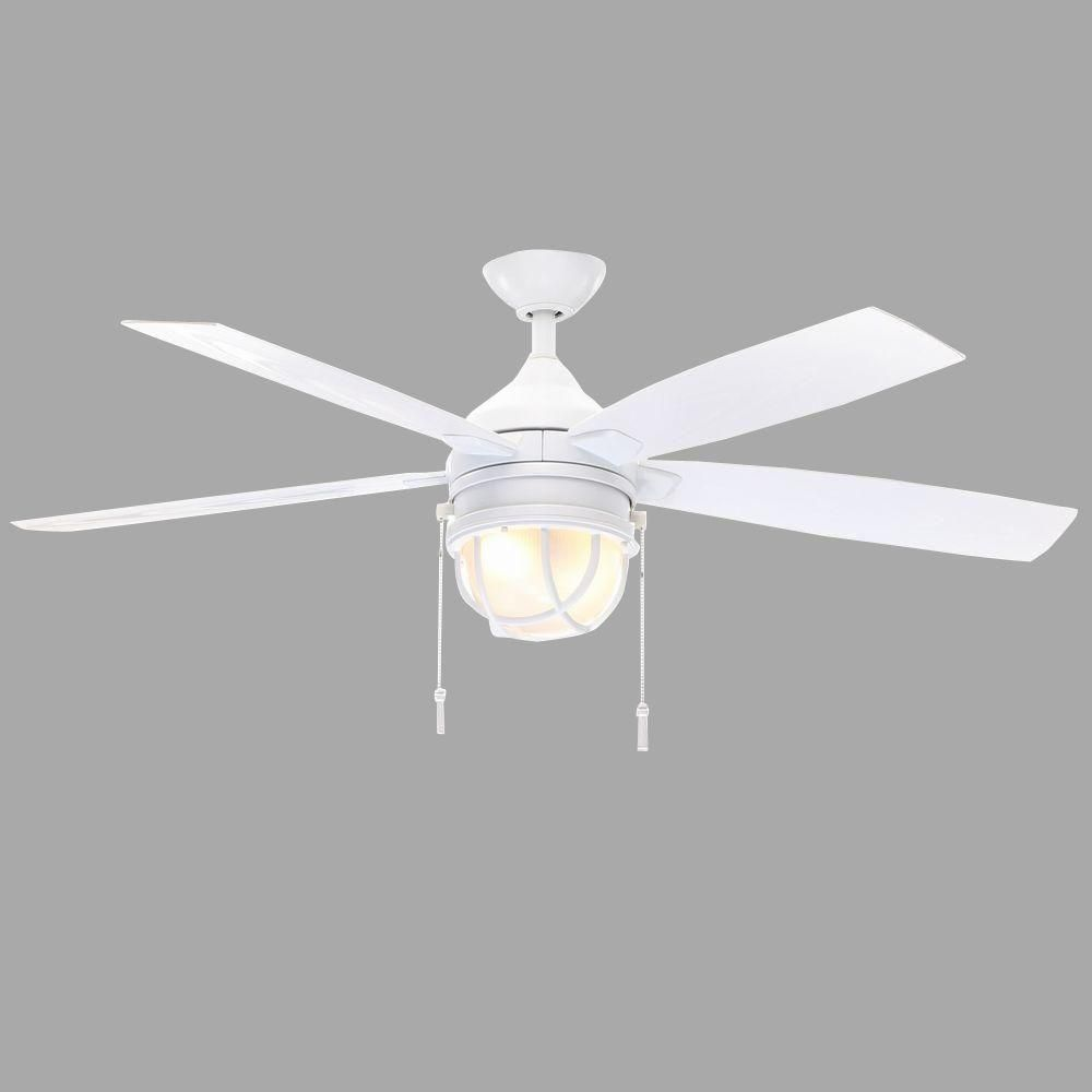 Hampton Bay Seaport 52 In Indoor Outdoor White Ceiling Fan With Light Kit