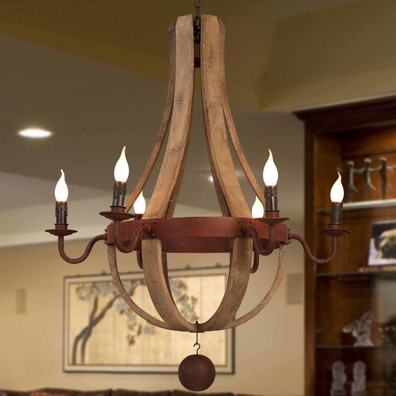 Landelijke wind industriële klassieke houten hanglamp, smeedijzeren ...
