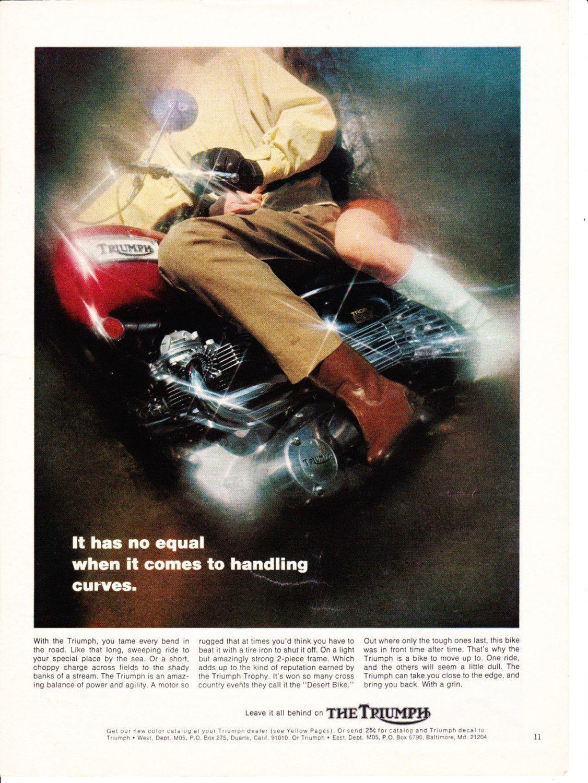 vintage original magazine advertisement 1969 triumph motorcycle