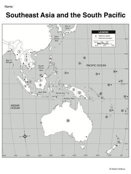 Map Of Southeast Asia And South Pacific.Southeast Asia The South Pacific Mapping Activity Geography