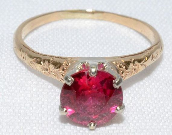 Vintage Ruby 14k Yellow Gold Ring by LadyLibertyGold on Etsy