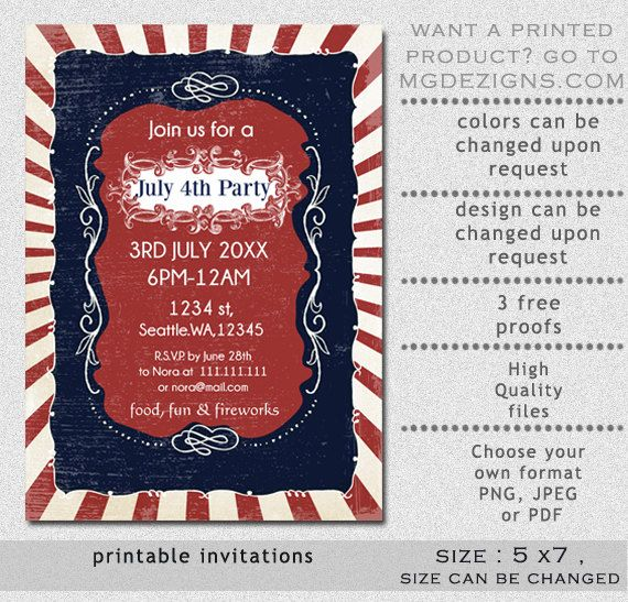 printable red white and blue rustic vintage retro invitation