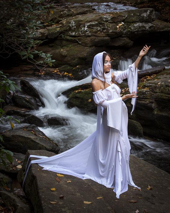 River Maiden Goddess Ensemble Water Nymph Dress Fairy Costume Alternative Wedding Gown Mermaid Tail & River Maiden Goddess Ensemble Water Nymph Dress Fairy Costume ...