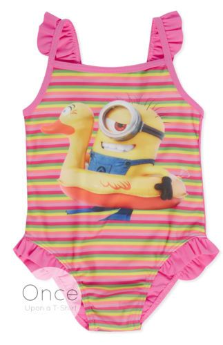 Girls Swimsuit Minions Despicable Me Pink