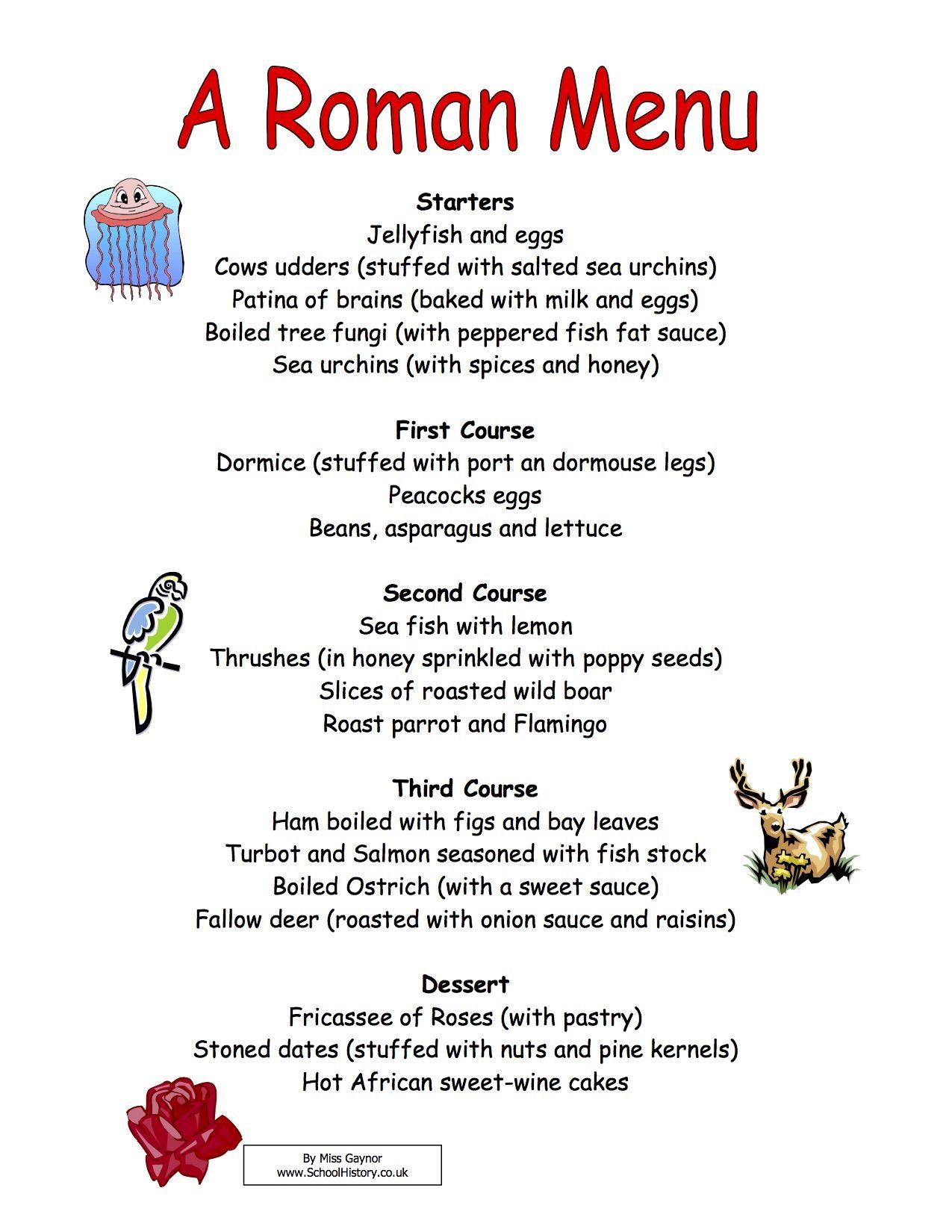 Image result for roman menu   Roman food, Food lessons ...