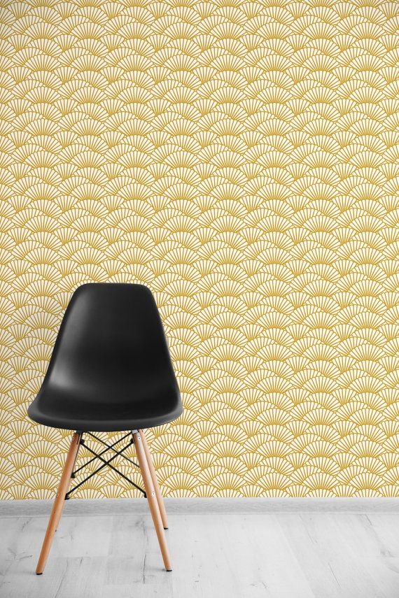 Solid gold wallpaper scallop removable wallpaper self adhesive wallpaper geometric pattern wall covering 145