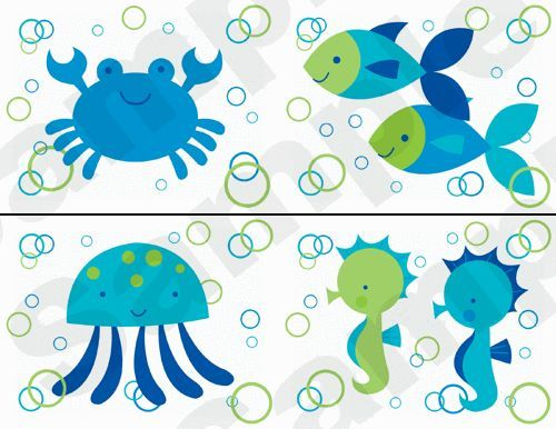 baby boy rooms with fish | SEA LIFE NURSERY BABY BOY KIDS CHILDREN'S ROOM WALL BORDER DECALS ...