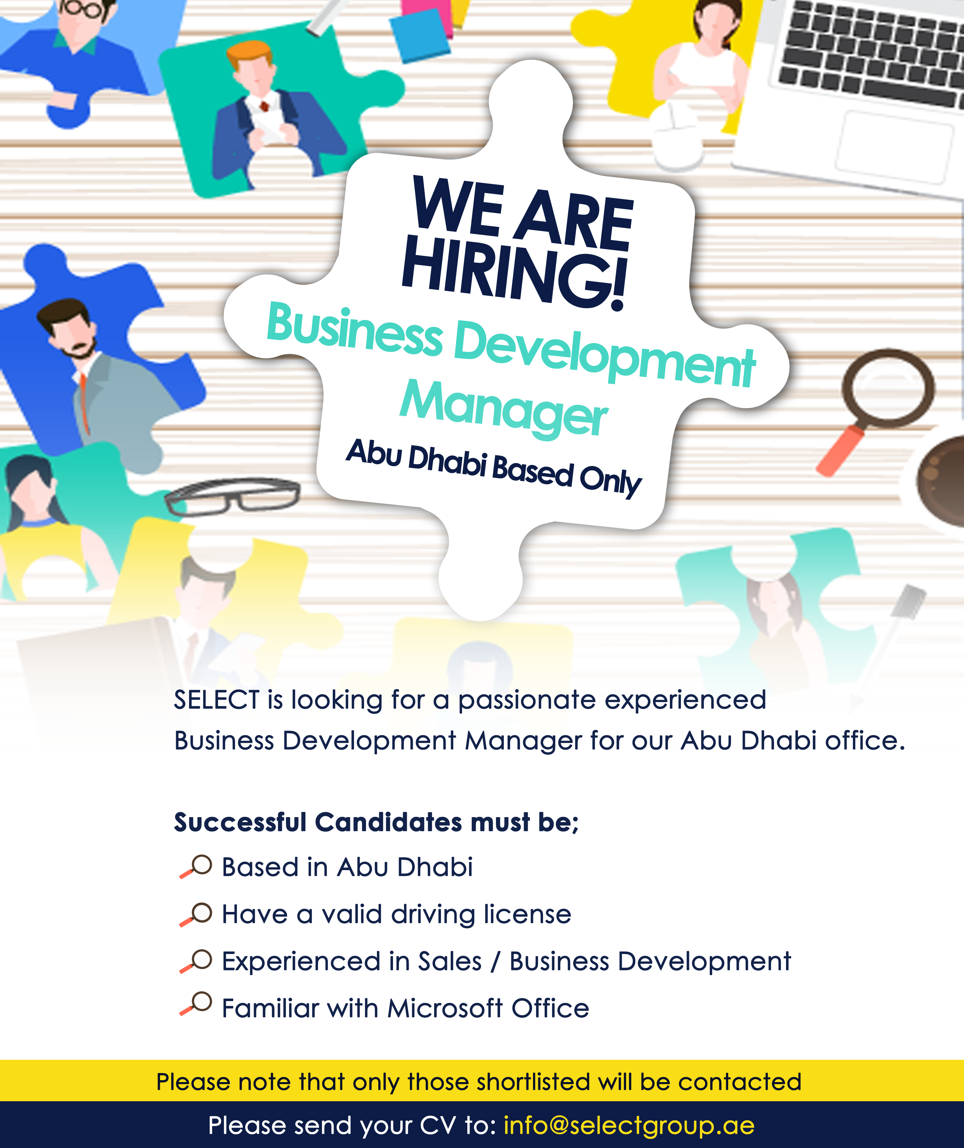 Visit www.selecttraining.ae/careers/ for more information