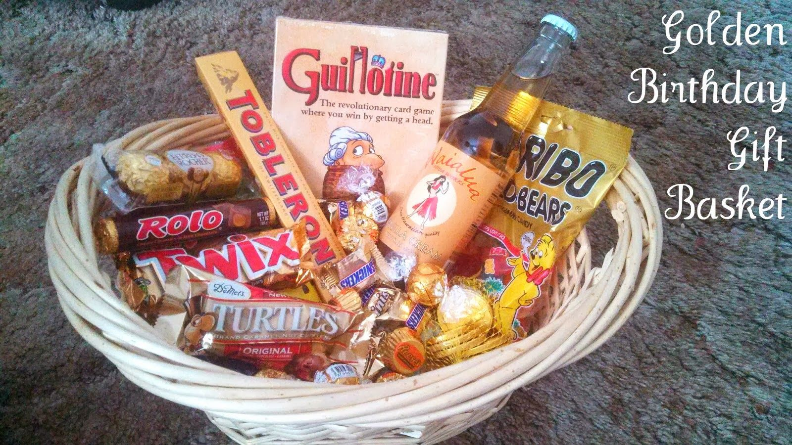 Golden Birthday Gift Basket Idea