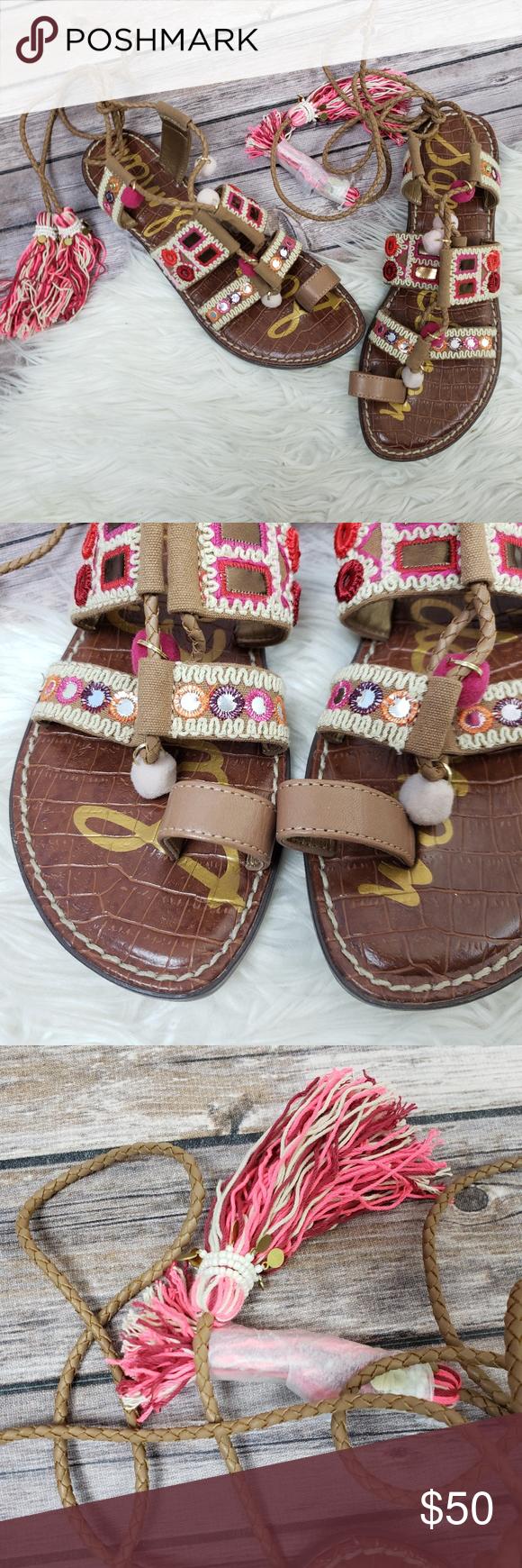 78141a7b563 Sam Edelman Gretchen Tan Pink Gladiator Flats 9 Sam Edelman Gretchen Tan Pink  Gladiator Flat Sandals Tassels Boho Size 9 New without box Sam Edelman  Shoes ...