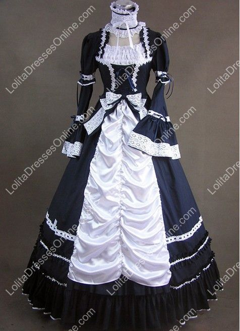 98fde2fb043 Aristocrat Style Black and White Ruffled Gothic Victorian Lolita Dress
