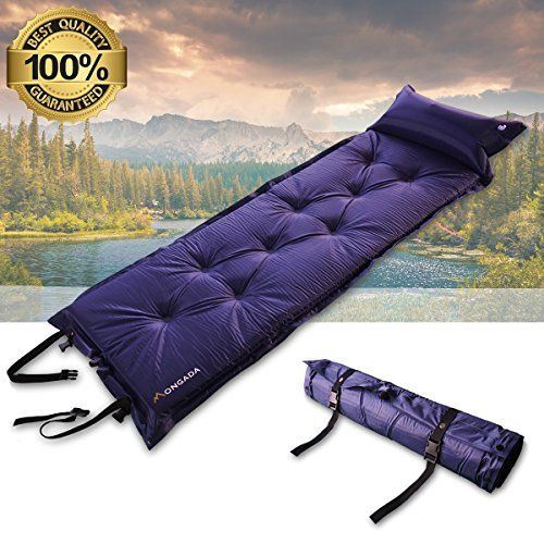 Mongada Selfinflating Sleeping Pad Air Mattress 2 Inches Thick Attached Pillow 248 X 716 Blue Set Of 1 Find Camping Bed Sleeping Bags Camping Sleeping Pads