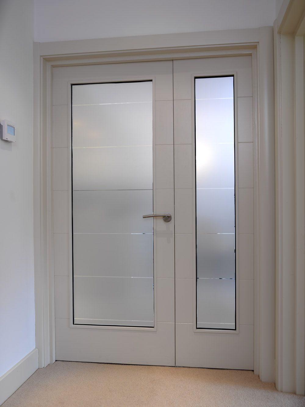 Stunning White Glazed Doors With Frosted Glass And Horizontal