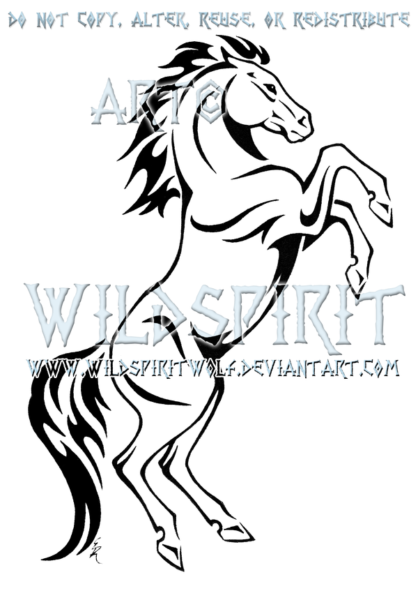 rearing horse tribal design by wildspiritwolf on deviantart alas pinterest caballos. Black Bedroom Furniture Sets. Home Design Ideas