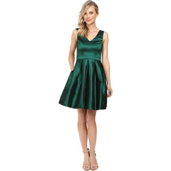 Jessica Simpson Taffeta Fit Flare Dress (Emerald) Women's Dress ($55) ❤ liked on Polyvore featuring dresses, green, straight dress, mid thigh dress, green fit and flare dress, v-neck dresses and jessica simpson dresses