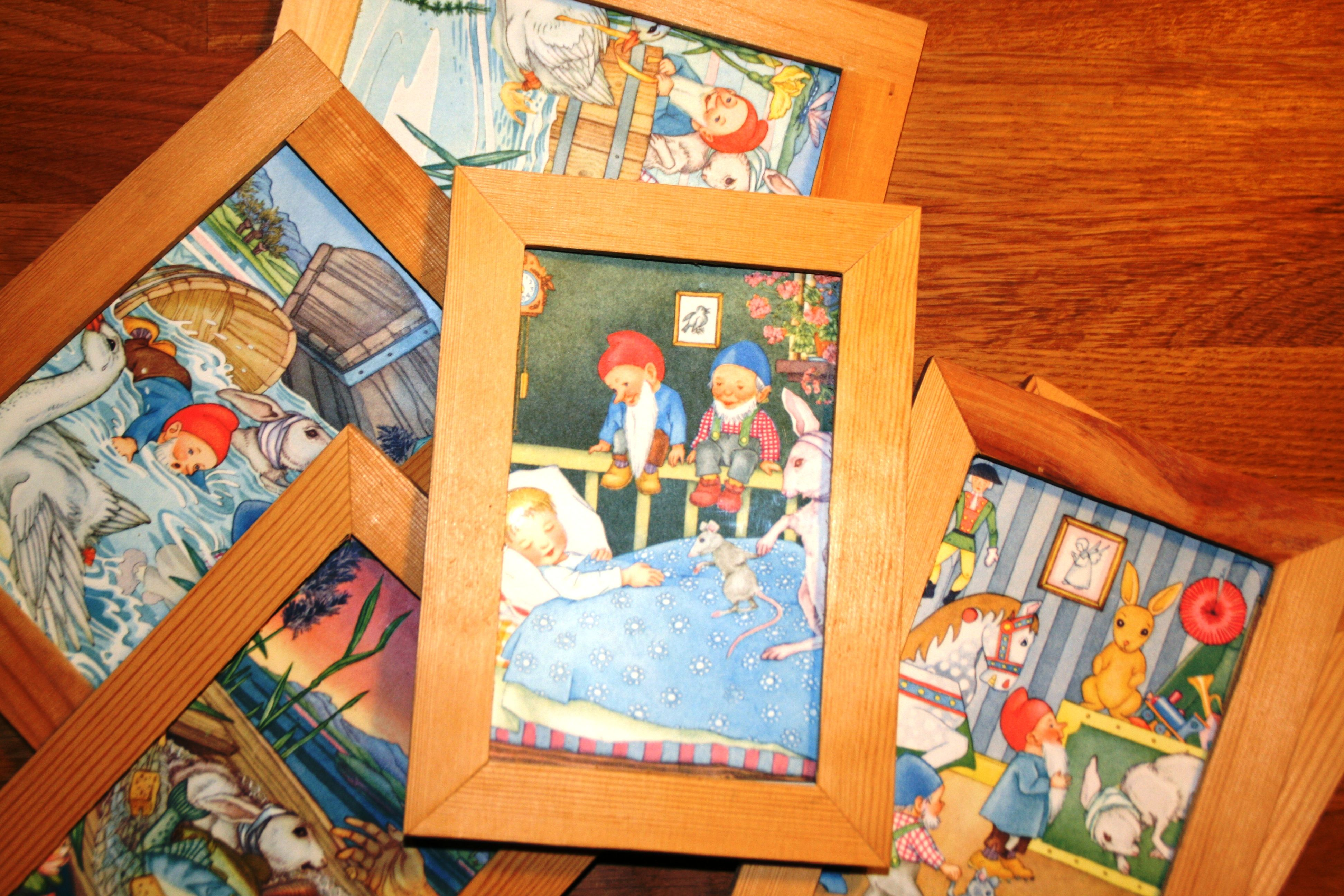 Frames with pictures from a used children's book - a story about pixies...
