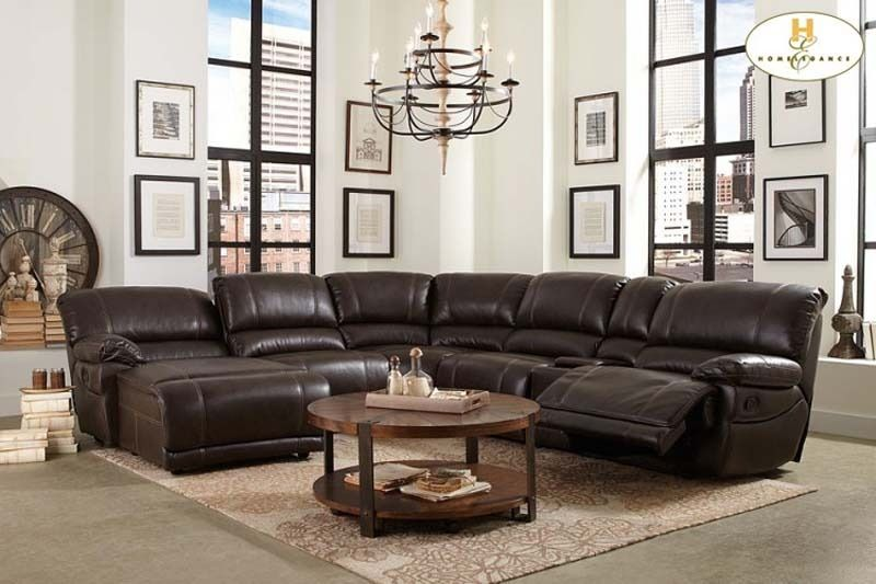 Modern Brown Leather Reclining Sectional Sofa Recliner Chaise ...