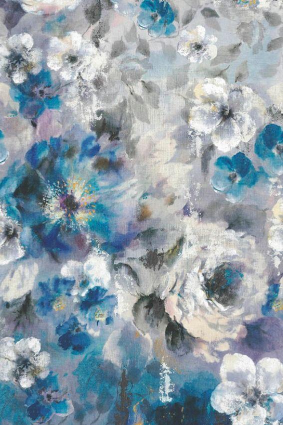 1838 Bloom Sapphire   Flower Wall   Blue Mural in 2020 ...