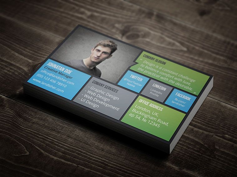 Flat Personal Business Card PSD Template Download Advertise - Personal business cards template