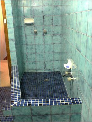 Doccia Con Muretto  Love The Green Tiles!