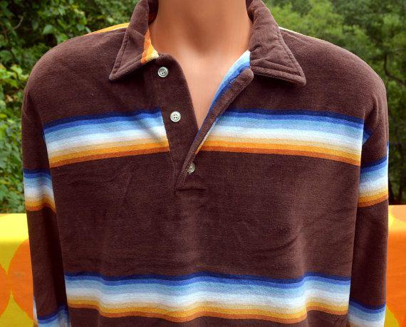 vintage 70s VELOUR shirt polo stripes sweatshirt brown blanket stripe Large XL oscar california