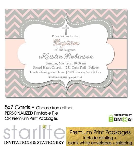 Pink And Grey Baptism Invitation Girl Invite Printable Chevron Pr