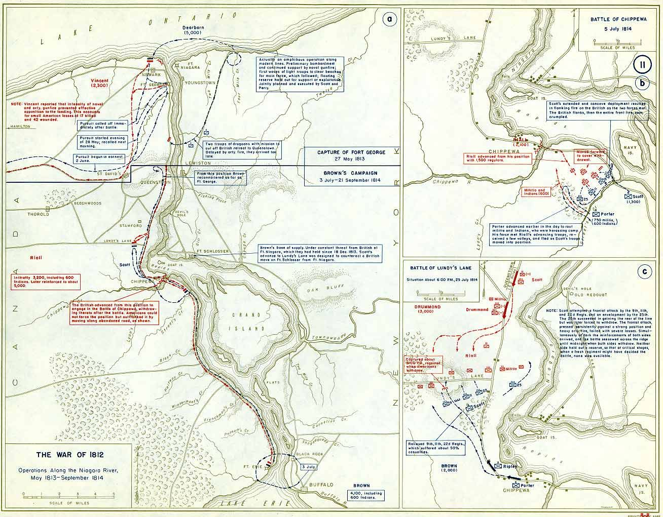 maps of 1812 war in USA | Four maps of the American invasion of Canada  Campaign maps of battles.