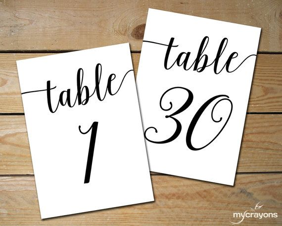 Printable Table Numbers 1 40 Black Table Numbers For