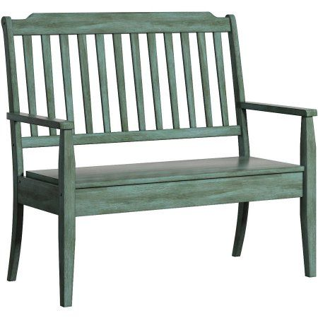 Weston Home Farmhouse Storage Bench With Spindle Back, Green