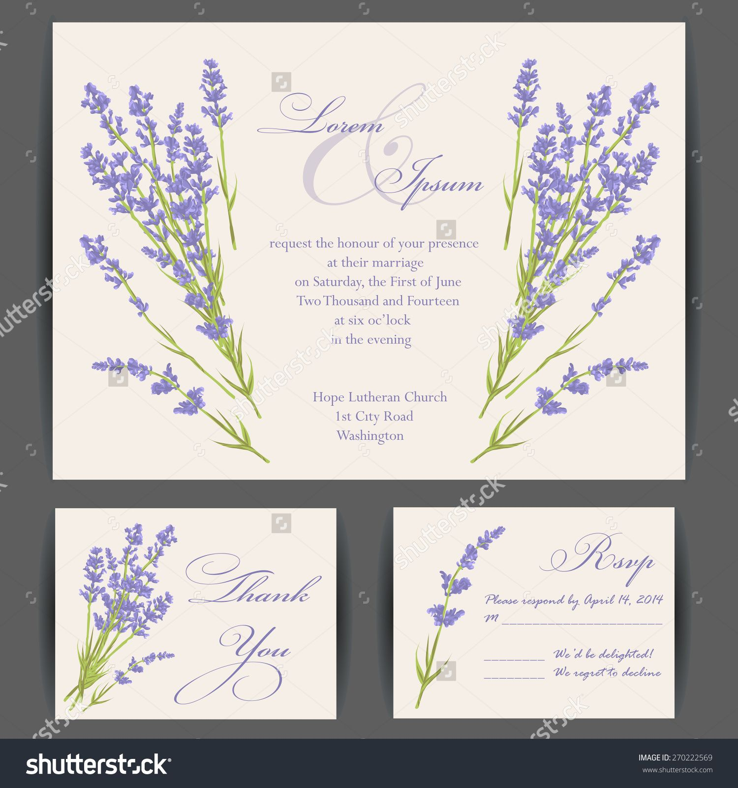 Wedding invitation card with purple lavender flower Vintage