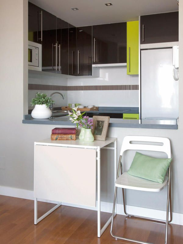 Antes y después: un piso de 40m2 reformado | cocina | Mesas de ...