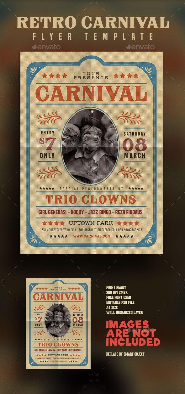 Retro Circus Carnival Flyer Carnival, Psd flyer templates and - retro brochure template