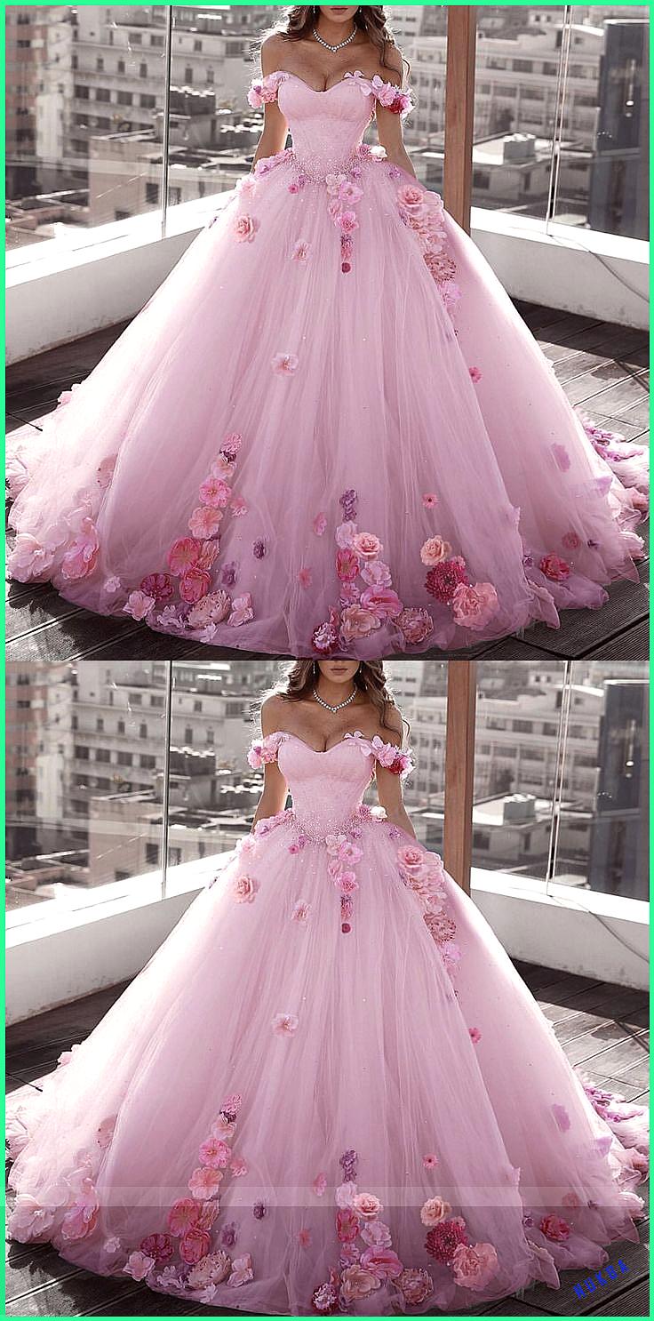 Blush Pink Tulle Off Shoulder Ball Gown Wedding Dresses Floral