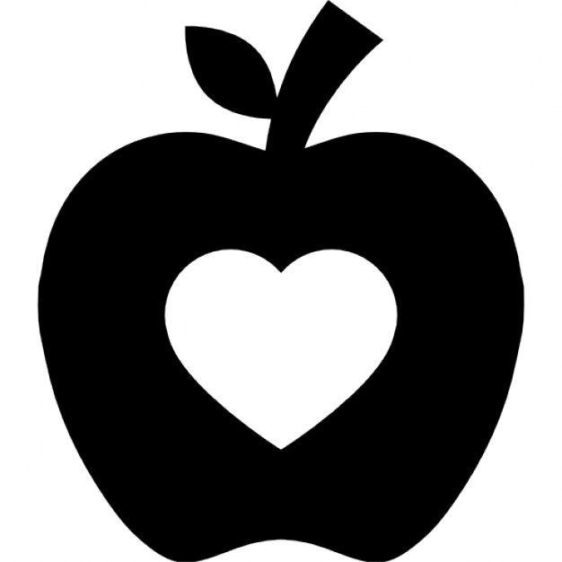 Apfel Silhouette Mit Herz Form Kostenlose Icons Plotter