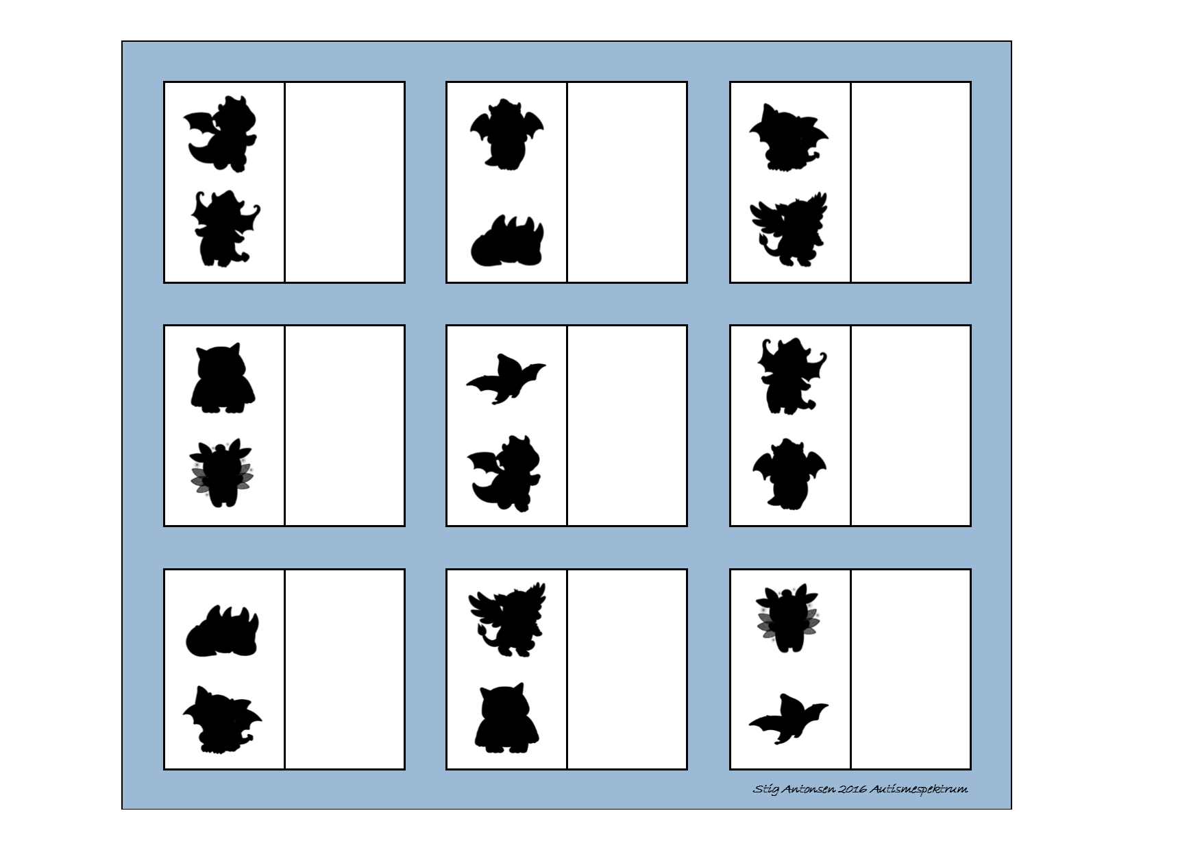 Board for the matching game. Find the belonging tiles on ...