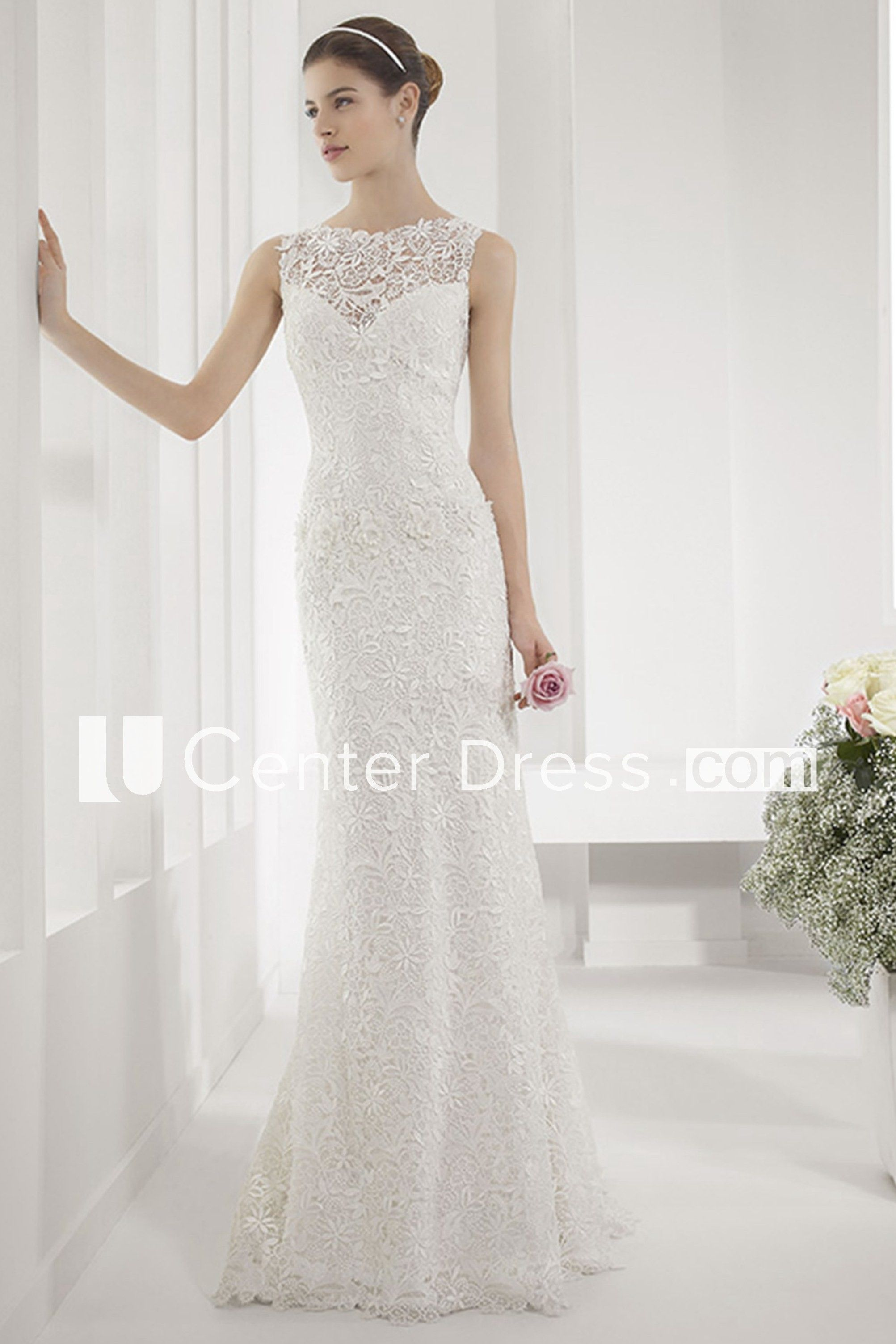 Wedding dress with straps  Allover Lace Illusion Neck Sheath Wedding Gown With Back Keyhole